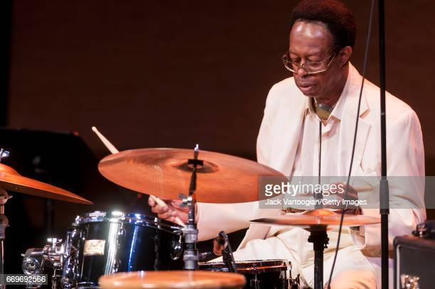American Jazz musician Louis Hayes plays drums with the Cedar Walton Trio as he performs onstage during Jazz at Lincoln Center's 'Jazz Forum at 30: A...