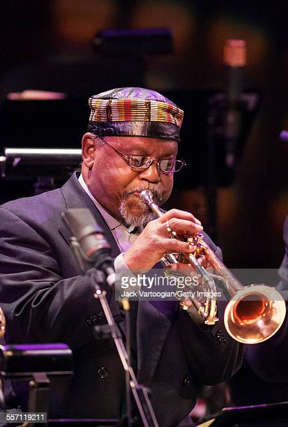 American Jazz musician Marcus Belgrave plays trupet as he performs with the AllStar Detroit Band in the Jazz at Lincoln Center concert 'Detroit Motor...