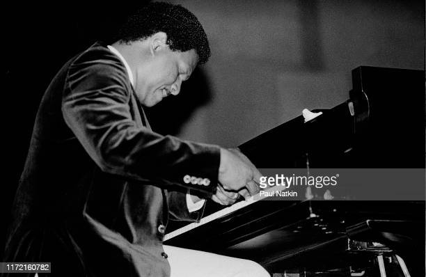 American jazz musician McCoy Tyner performs on stage at the Petrillo Bandshell in Chicago, Illinois, September 4 1982.