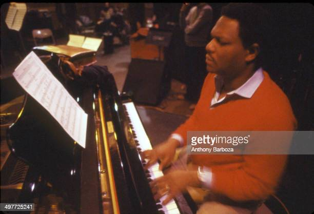 American jazz musician McCoy Tyner plays piano during rehersals for the 'One Night With Blue Note' concert New York New York February 1985
