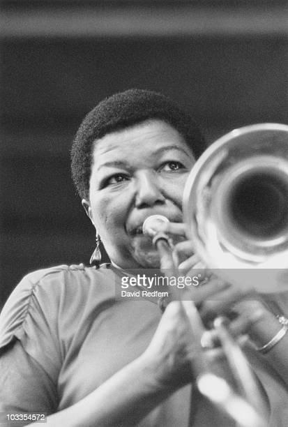 American jazz musician Melba Liston on the trombone at the Nice Jazz Festival, 1990.