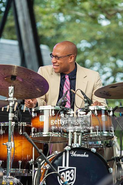 American Jazz musician Otis Brown III plays drums as he leads his quintet at a dual celebration of Blue Note's 75th anniversary and Okayplayer's 15th...