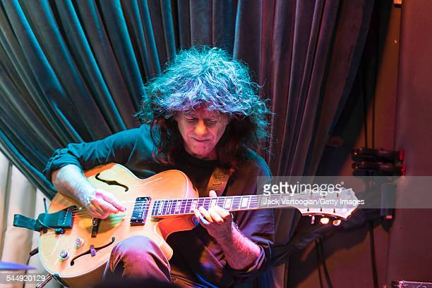 American Jazz musician Pat Metheny plays guitar as he performs onstage with Roy Haynes and his Fountain of Youth Band on Haynes' 90th birthday at the...