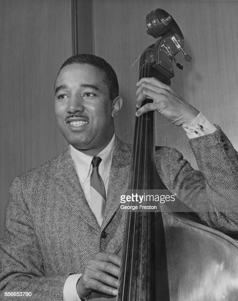 American jazz musician Ray Brown on his double bass 10th April 1964
