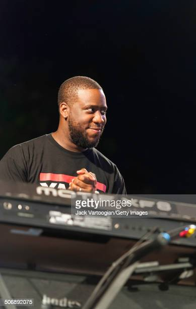 American Jazz musician Robert Glasper plays keyboards as he performs with the Revive Big Band at a dual celebration of Blue Note's 75th anniversary...