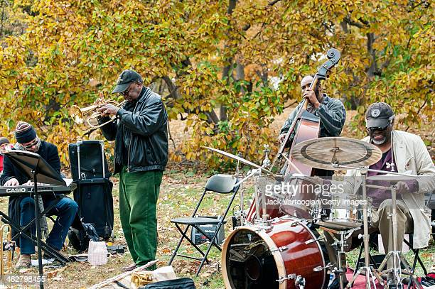American Jazz musician Roy Campbell Jr leads his Quartet from the fluegelhorn with Andrew Bemkey on keyboards Chris Sullivan on upright acoustic bass...