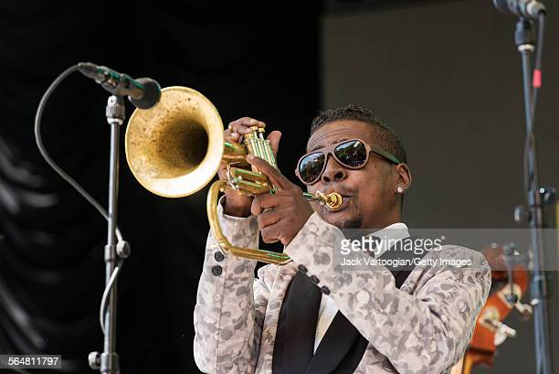 American Jazz musician Roy Hargrove plays fluegelhorn with his quintet during the Blue Note Jazz Festival at Central Park SummerStage New York New...