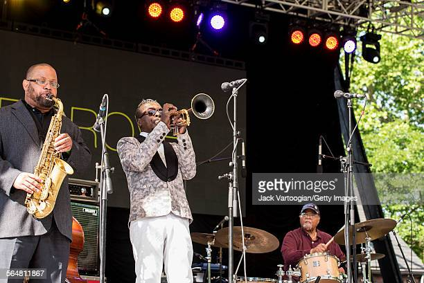 American Jazz musician Roy Hargrove plays trumpet as he leads his quintet during the Blue Note Jazz Festival at Central Park SummerStage New York New...
