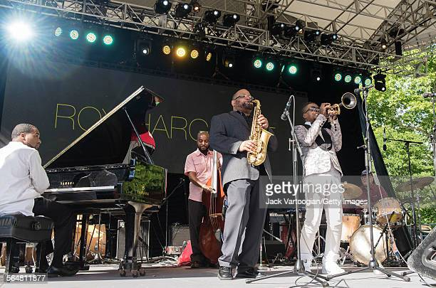 American Jazz musician Roy Hargrove plays trumpet as he leasds his quintet during the Blue Note Jazz Festival at Central Park SummerStage New York...
