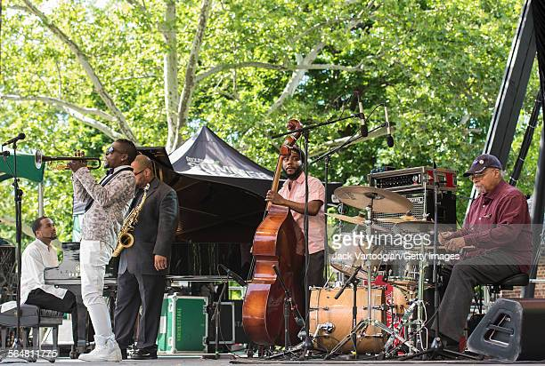 American Jazz musician Roy Hargrove plays trumpet with his quintet during the Blue Note Jazz Festival at Central Park SummerStage New York New York...