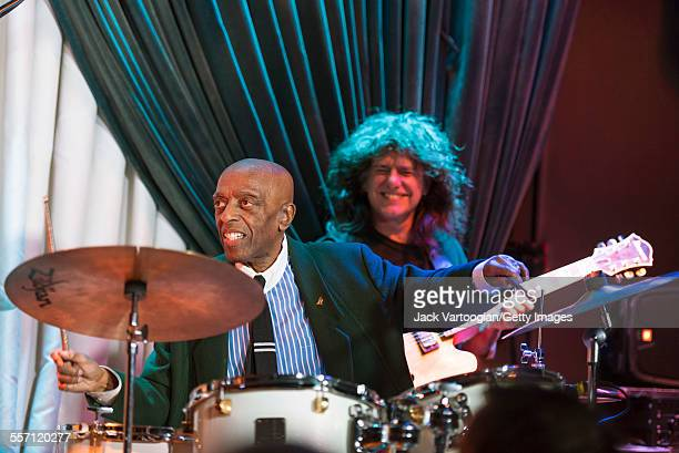 American Jazz musician Roy Haynes plays drums as he leads his Fountain of Youth Band on his 90th birthday concert at the Blue Note nightclub, New...