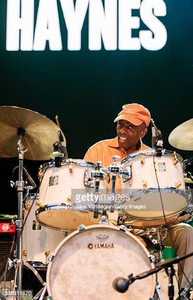 American Jazz musician Roy Haynes plays drums as he leads the Fountain of Youth band during the Blue Note Jazz Festival's 'The Legends Honor...