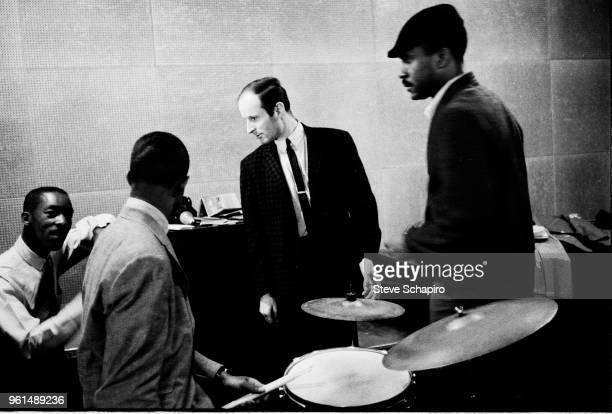 American Jazz musician Sam Jones talks with fellow musicians among them pianist Joe Zawinul New York 1961