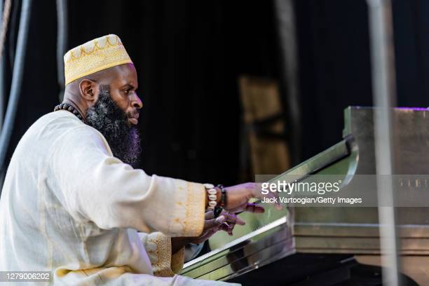 American Jazz musician Sharp Radway plays piano as he performs onstage during the 27th Annual Charlie Parker Jazz Festival in Tompkins Square Park,...