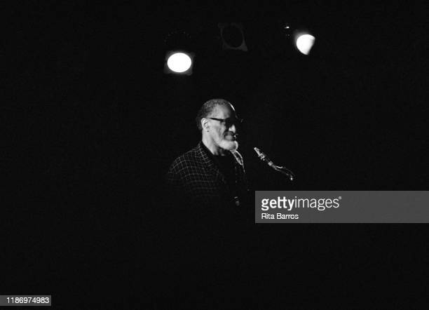 American Jazz musician Sonny Rollins plays saxophone as he performs onstage at Tramps nightclub New York New York April 12 1997