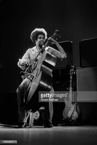 American Jazz musician Stanley Clarke plays an upright acoustic bass as he performs onstage at Southern Illinois University, Carbondale, Illinois,...