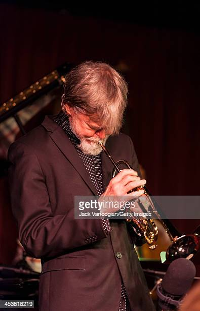 American Jazz musician Tom Harrell plays trumpet as he leads his quintet during their first set at the Village Vanguard, New York, New York, October...