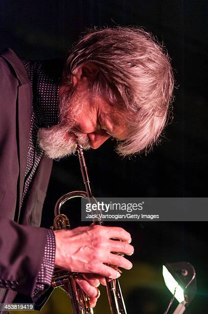 American Jazz musician Tom Harrell plays trumpet as he leads his quintet during their second set at the Village Vanguard New York New York October 11...