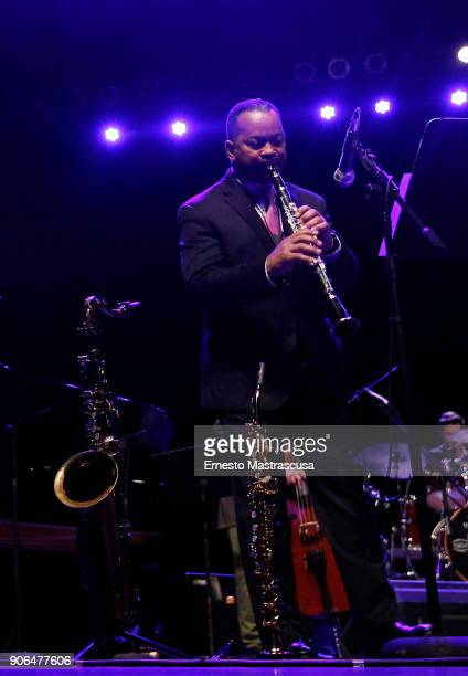 American jazz musician Victor Goines performs during a concert as part of Havana Jazz Festival 2018 on January 17 2018 in Havana Cuba