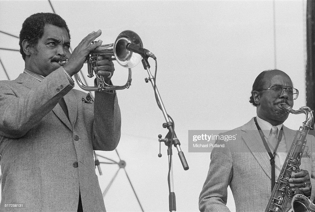 American jazz musicians Art Farmer (1928 - 1999, left) and Benny Golson performing with their 'Jazztet' at the Capital Radio Jazz Festival at Knebworth House, Hertfordshire, 17th July 1982.