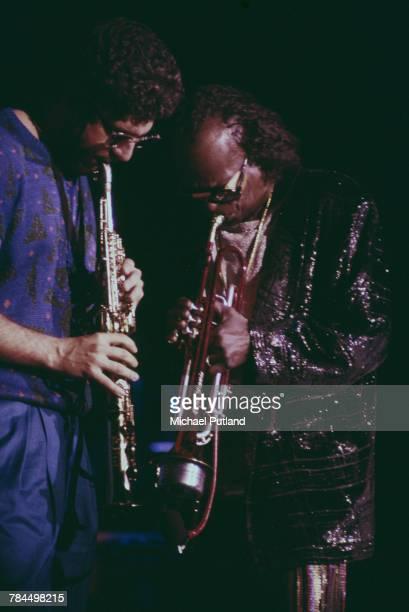 American jazz musicians Bob Berg and Miles Davis performing at Wembley Conference Centre London 16th November 1986