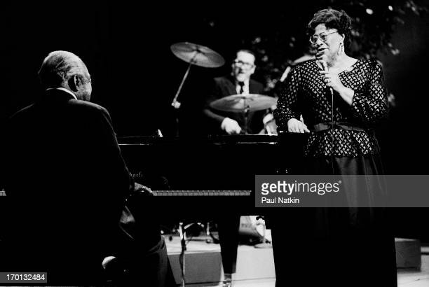 American jazz musicians Count Basie on piano and Ella Fitzgerald on vocals perform during a recording of an episode of the PBS television series...