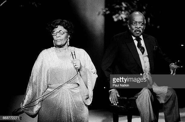 American Jazz musicians Count Basie on piano and singer Ella Fitzgerald perform during an episode of the PBS television series 'Soundstage' Chicago...