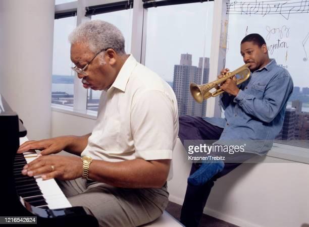 American jazz musicians Ellis Marsalis and his son Wynton Marsalis in New York City 1995