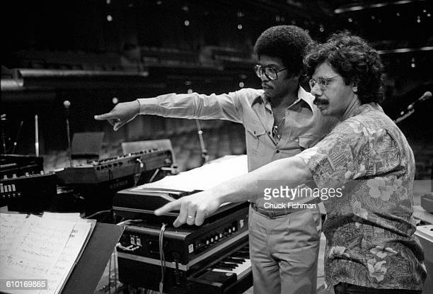 American Jazz musicians Herbie Hancock and Chick Corea discuss their performance during a rehearsal at Avery Fisher Hall New York New York June 1978...