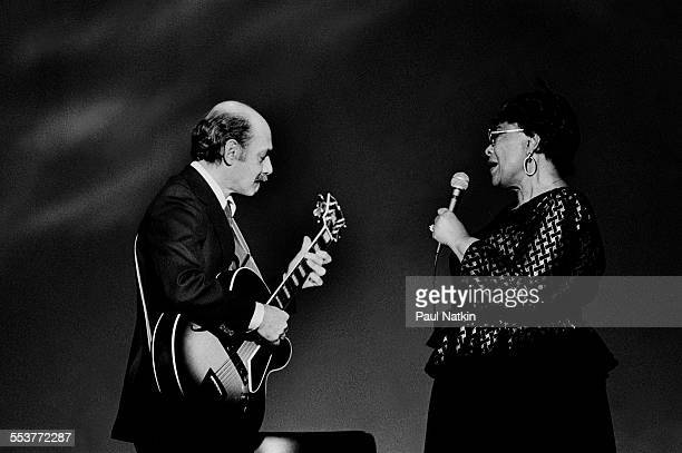 American Jazz musicians Joe Pass on guitar and singer Ella Fitzgerald perform during an episode of the PBS television series 'Soundstage' Chicago...