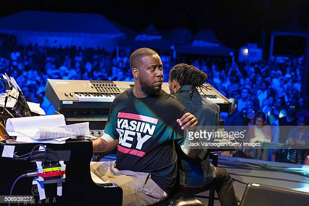 American Jazz musicians Robert Glasper on piano and Marc Cary on keyboards perform with the Revive Big Band at a dual celebration of Blue Note's 75th...