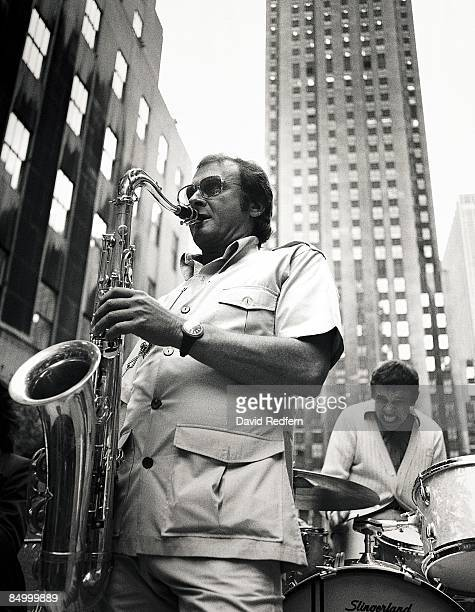 STREET Photo of Buddy RICH and Stan GETZ with Buddy Rich performing concert in street