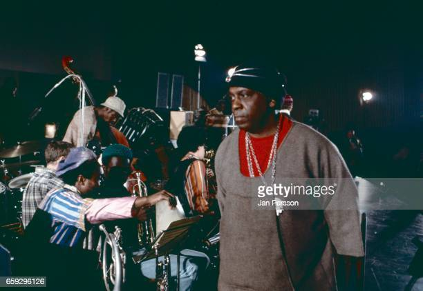 American jazz orchestra leader Sun Ra performing with His Intergalatic Research Arkestra at Berliner Jazz Tage Germany 1970