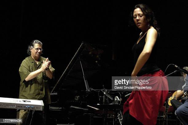 American jazz pianist and composer Chick Corea performs live on stage with flamenco dancer Auxi Fernandez at The Queen Elizabeth Hall in London on...