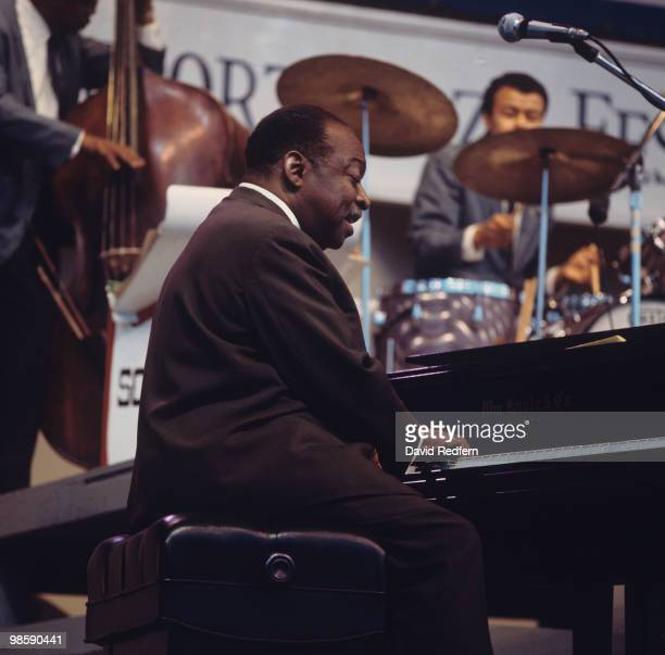American pianist Count Basie and his orchestra perform on stage at the Newport Jazz Festival held in Newport Rhode Island on July 05 1968