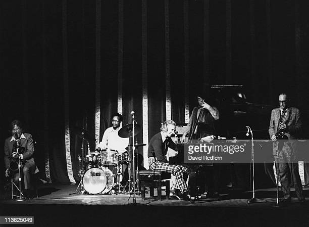 American jazz pianist and composer Dave Brubeck performs live on stage with the Dave Brubeck Quartet featuring, from left, saxophonist Gerry Mulligan...