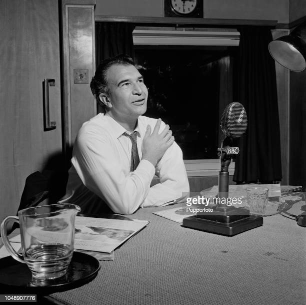 American jazz pianist and composer Dave Brubeck pictured during an interview with Roy Plomley for the BBC radio programme Desert Island Discs at...