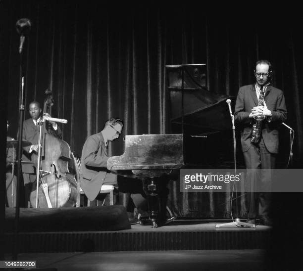American jazz pianist and composer Dave Brubeck Quartet performing in Copenhagen November 1961. From left Gene Wright, Dave Brubeck and Paul Desmond.