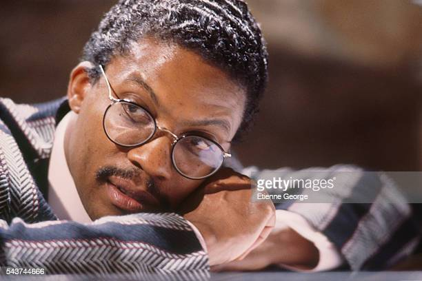American jazz pianist and composer Herbie Hancock on the set of Round Midnight based on the David Rayfiel screenplay directed by Bertrand Tavernier...