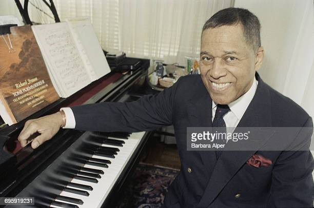 American jazz pianist and composer John Lewis founder of the Modern Jazz Quartet at home in New York City 17th April 1990