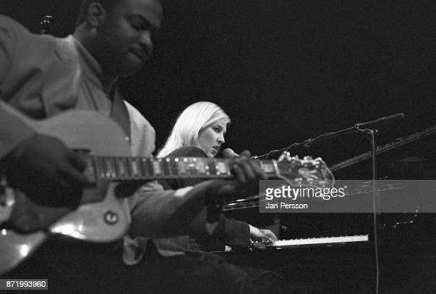 American jazz pianist and singer Diana Krall performing with guitar player Russell Malone at Copenhagen Denmark Jazz House 1996