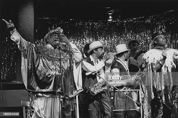 American jazz pianist bandleader and composer Sun Ra performing with his Arkestra circa 1985