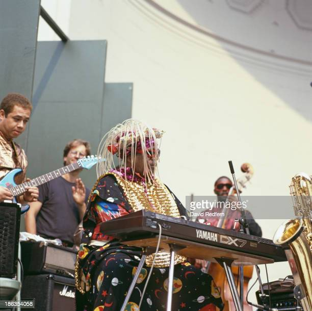 American jazz pianist bandleader and composer Sun Ra performing with his Arkestra 1987