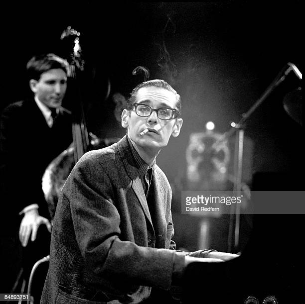 American jazz pianist Bill Evans at the piano during a performance filmed for the BBC Television music series 'Jazz 625' at BBC Television Theatre in...