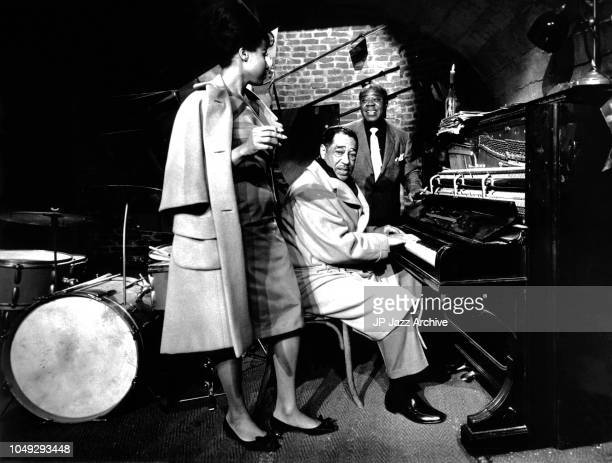 American jazz pianist composer and bandleader Duke Ellington and American jazz trumpeter Louis Armstrong, from the film 'Paris Blues' 1961.
