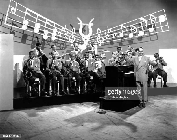 American jazz pianist composer and bandleader Duke Ellington Orchestra in the film 'Hot Chocolate' 1941.