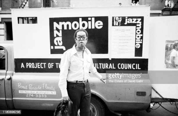 American jazz pianist composer broadcaster and educator Billy Taylor poses for a portrait during a jazz performance on the Jazzmobile on August 25...