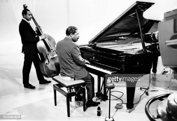 American jazz pianist Erroll Garner in TVstudio Copenhagen 1967 with bass player Ernest McCarty
