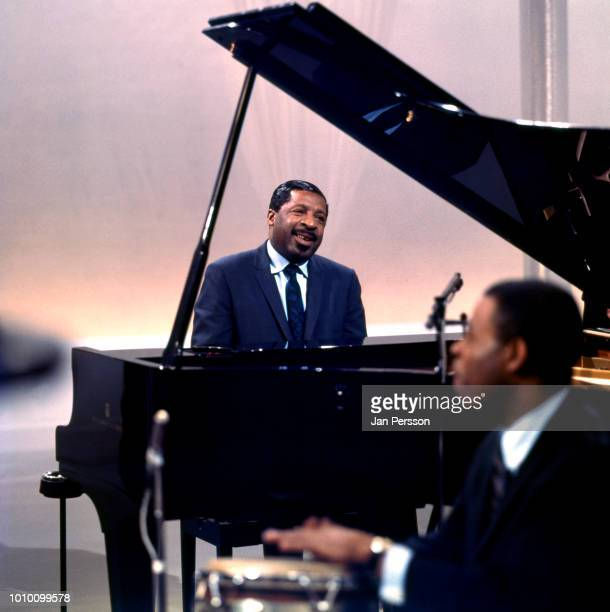 American jazz pianist Erroll Garner recording in TV studio Copenhagen Denmark May 1968