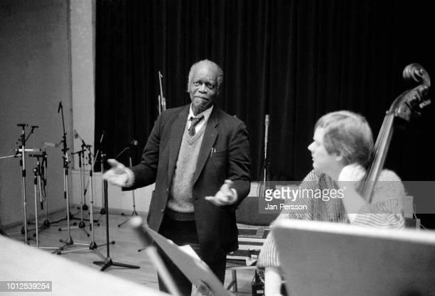 American jazz pianist Hank Jones and Danish double bassist Mads Vinding in recording studio Copenhagen Denmark March 1991